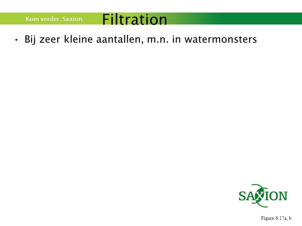 Kom verder. Saxion. Bij zeer kleine aantallen, m.n. in watermonsters Filtration Figure 6.17a, b