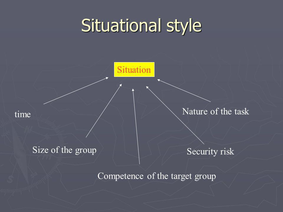 Situational style Situation time Size of the group Competence of the target group Security risk Nature of the task