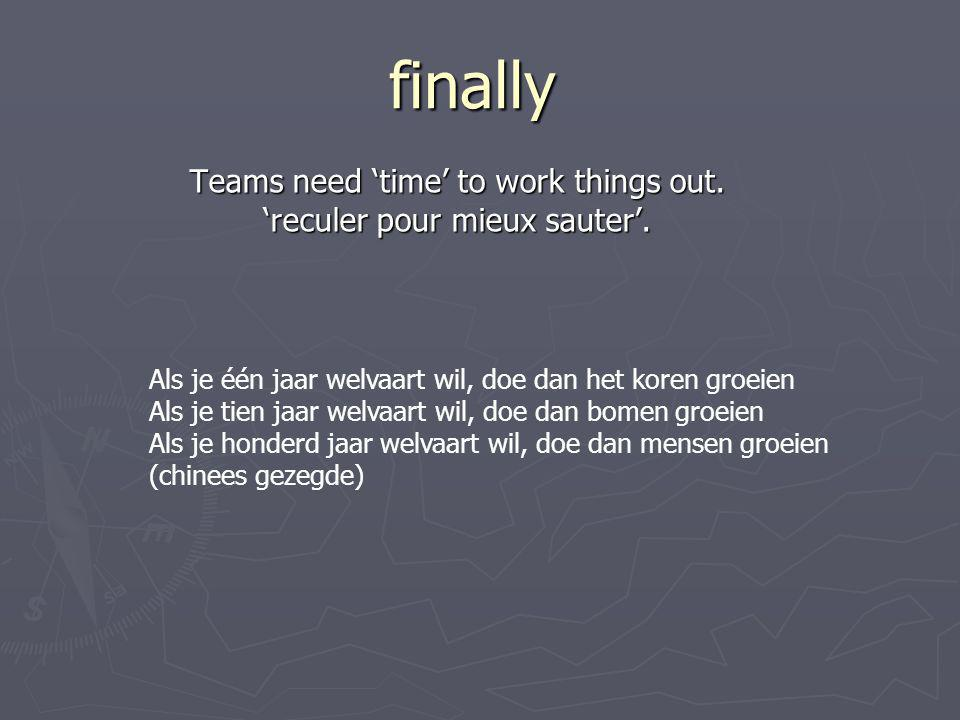 finally Teams need 'time' to work things out.'reculer pour mieux sauter'.