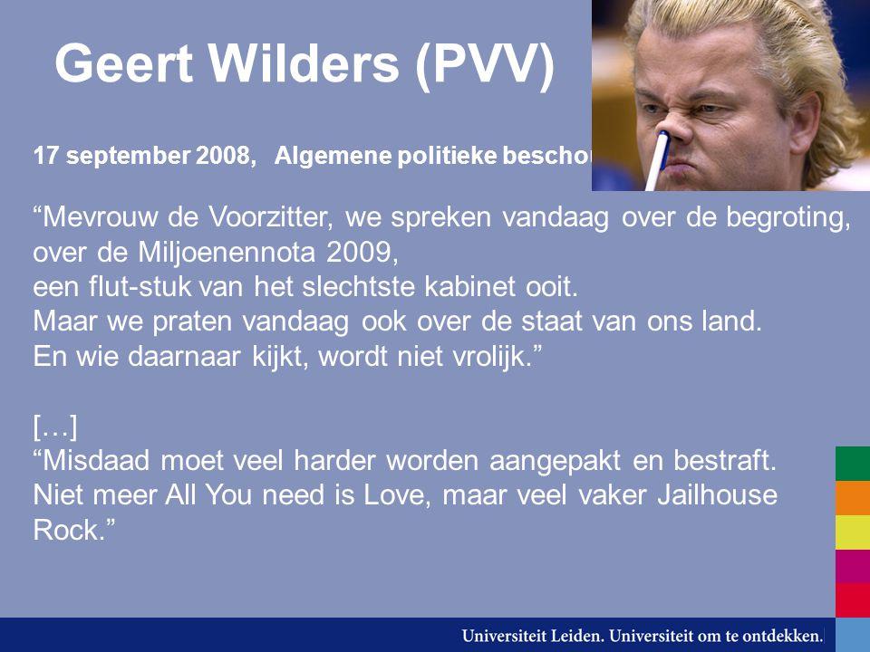 """Geert Wilders (PVV) 17 september 2008, Algemene politieke beschouwingen """"Mevrouw de Voorzitter, we spreken vandaag over de begroting, over de Miljoene"""