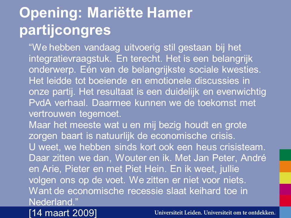 """Opening: Mariëtte Hamer partijcongres """"We hebben vandaag uitvoerig stil gestaan bij het integratievraagstuk. En terecht. Het is een belangrijk onderwe"""
