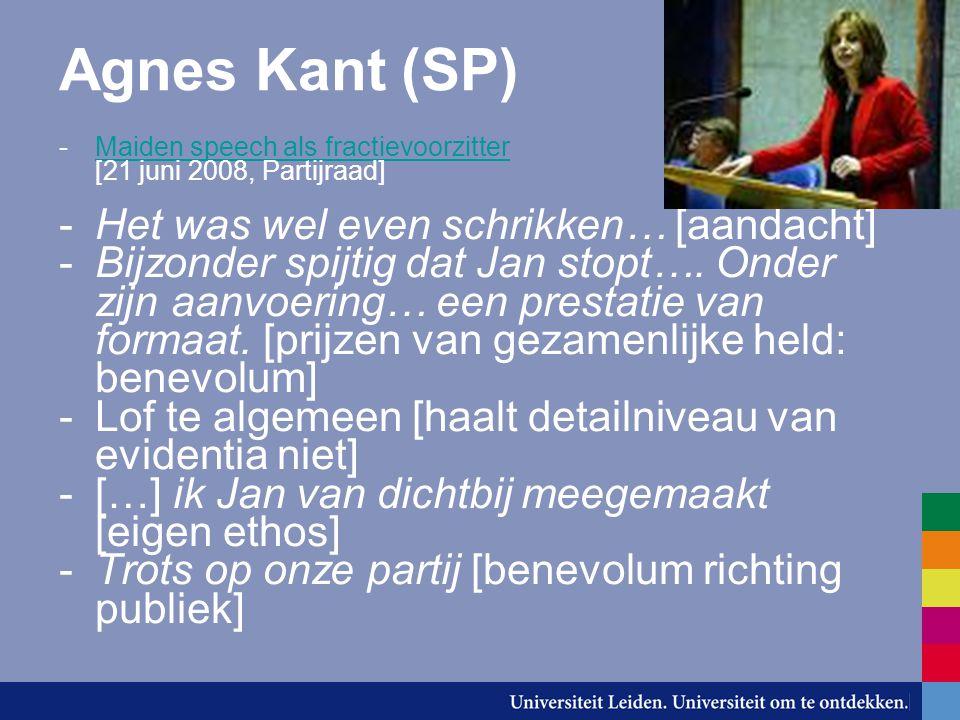 Agnes Kant (SP) -Maiden speech als fractievoorzitter [21 juni 2008, Partijraad]Maiden speech als fractievoorzitter -Het was wel even schrikken… [aanda