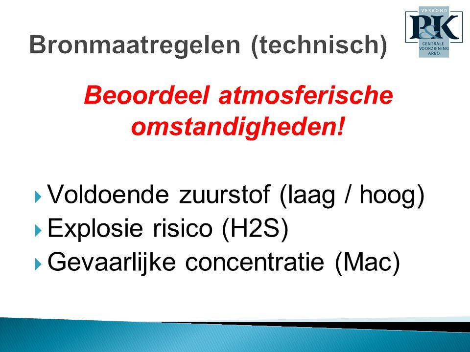Henk Roeffen Beoordeel atmosferische omstandigheden!  Voldoende zuurstof (laag / hoog)  Explosie risico (H2S)  Gevaarlijke concentratie (Mac)