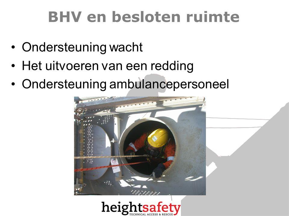 BHV en besloten ruimte Ondersteuning wacht Het uitvoeren van een redding Ondersteuning ambulancepersoneel