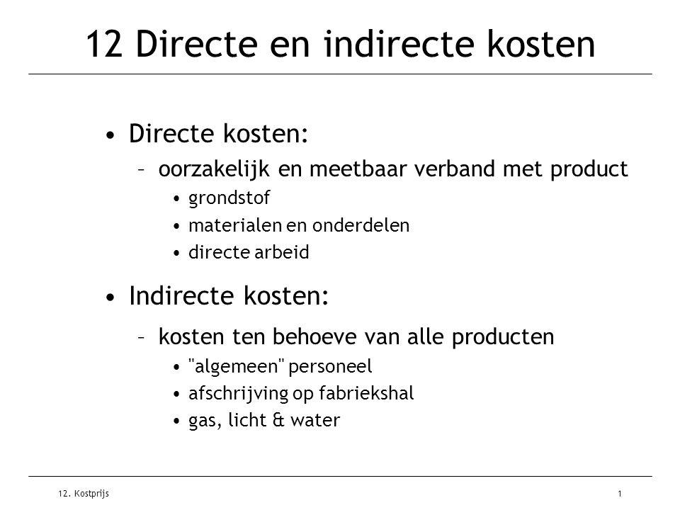 12. Kostprijs1 12 Directe en indirecte kosten Directe kosten: –oorzakelijk en meetbaar verband met product grondstof materialen en onderdelen directe
