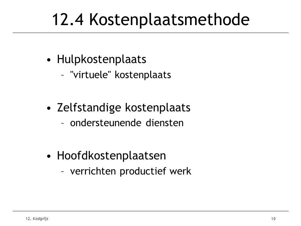 12. Kostprijs10 12.4 Kostenplaatsmethode Hulpkostenplaats –