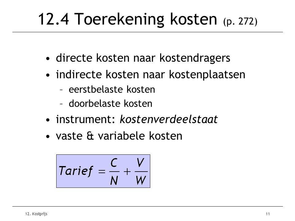 12. Kostprijs11 12.4 Toerekening kosten (p. 272) directe kosten naar kostendragers indirecte kosten naar kostenplaatsen –eerstbelaste kosten –doorbela