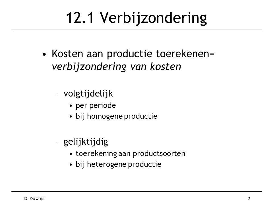 12. Kostprijs3 12.1 Verbijzondering Kosten aan productie toerekenen= verbijzondering van kosten –volgtijdelijk per periode bij homogene productie –gel