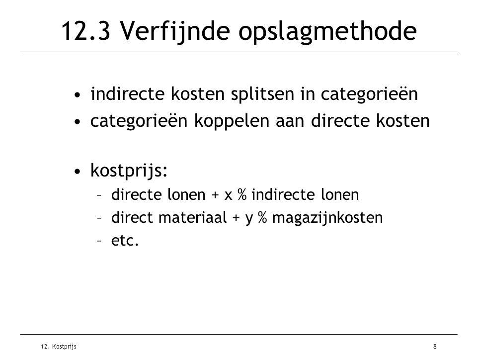 12. Kostprijs8 12.3 Verfijnde opslagmethode indirecte kosten splitsen in categorieën categorieën koppelen aan directe kosten kostprijs: –directe lonen