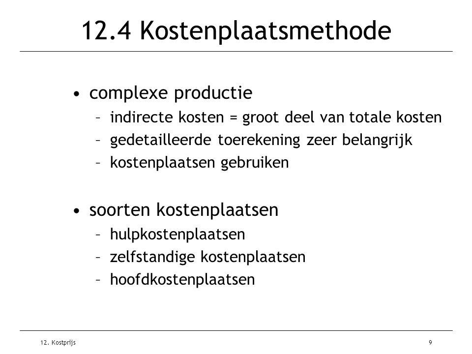 12. Kostprijs9 12.4 Kostenplaatsmethode complexe productie –indirecte kosten = groot deel van totale kosten –gedetailleerde toerekening zeer belangrij
