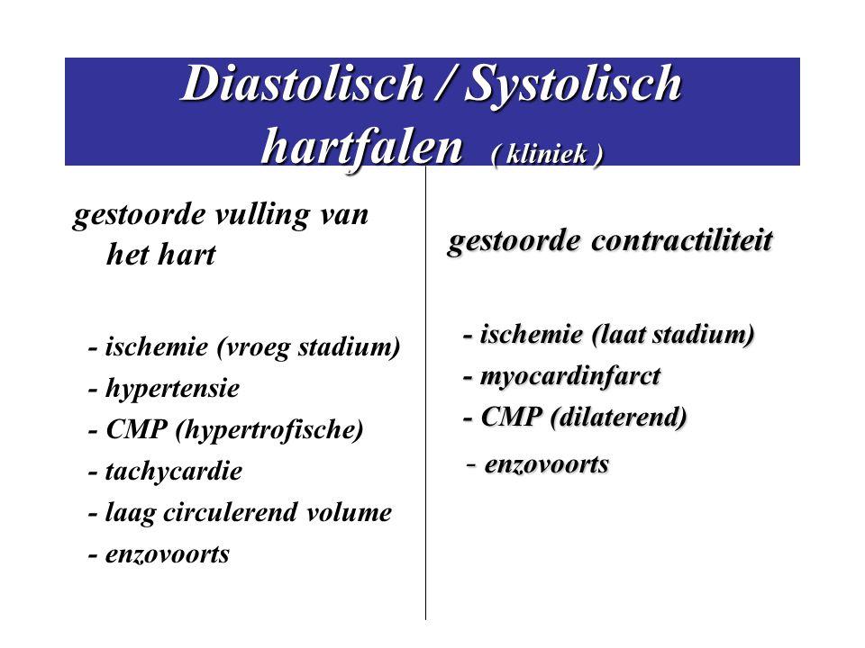 Diastolisch / Systolisch hartfalen ( kliniek ) gestoorde vulling van het hart - ischemie (vroeg stadium) - hypertensie - CMP (hypertrofische) - tachyc