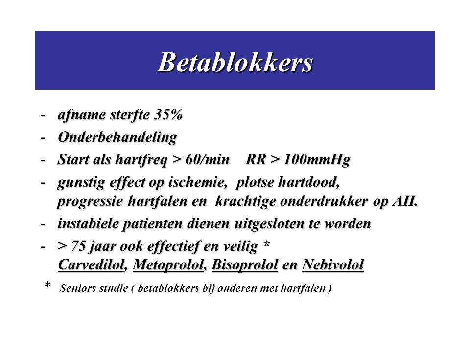 Betablokkers -afname sterfte 35% -Onderbehandeling -Start als hartfreq > 60/min RR > 100mmHg -gunstig effect op ischemie, plotse hartdood, progressie