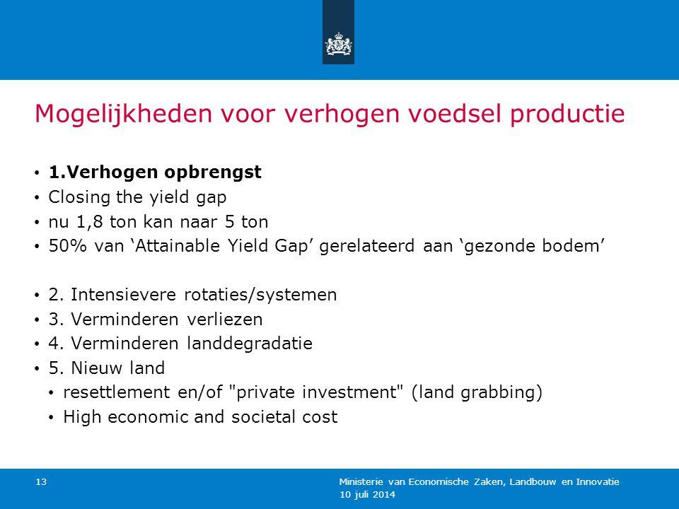 10 juli 2014 Ministerie van Economische Zaken, Landbouw en Innovatie 13 Mogelijkheden voor verhogen voedsel productie 1.Verhogen opbrengst Closing the yield gap nu 1,8 ton kan naar 5 ton 50% van 'Attainable Yield Gap' gerelateerd aan 'gezonde bodem' 2.