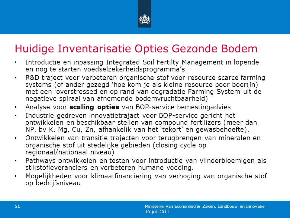 10 juli 2014 Ministerie van Economische Zaken, Landbouw en Innovatie 21 Huidige Inventarisatie Opties Gezonde Bodem Introductie en inpassing Integrate