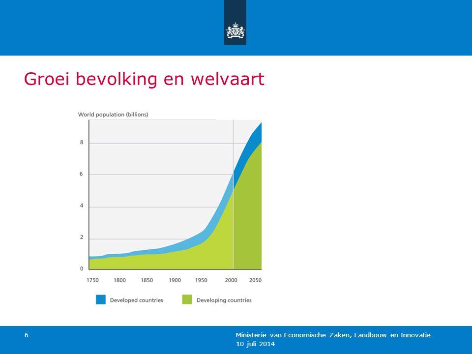 10 juli 2014 Ministerie van Economische Zaken, Landbouw en Innovatie 6 Groei bevolking en welvaart