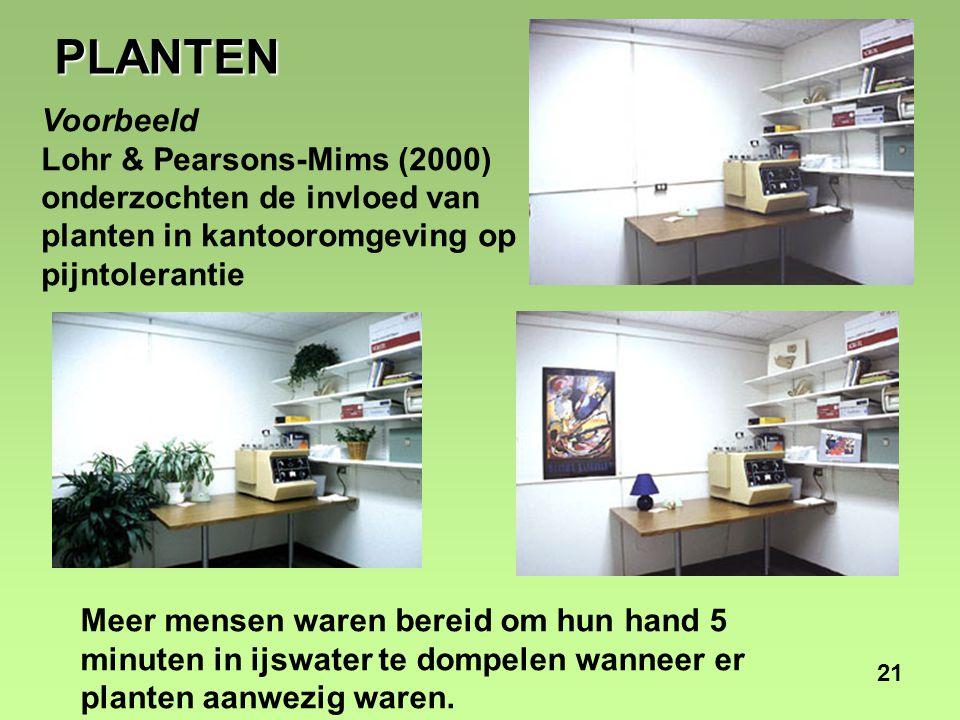 21 Voorbeeld Lohr & Pearsons-Mims (2000) onderzochten de invloed van planten in kantooromgeving op pijntolerantie Meer mensen waren bereid om hun hand 5 minuten in ijswater te dompelen wanneer er planten aanwezig waren.