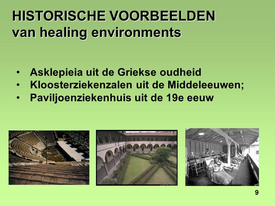 9 HISTORISCHE VOORBEELDEN van healing environments Asklepieia uit de Griekse oudheid Kloosterziekenzalen uit de Middeleeuwen; Paviljoenziekenhuis uit de 19e eeuw