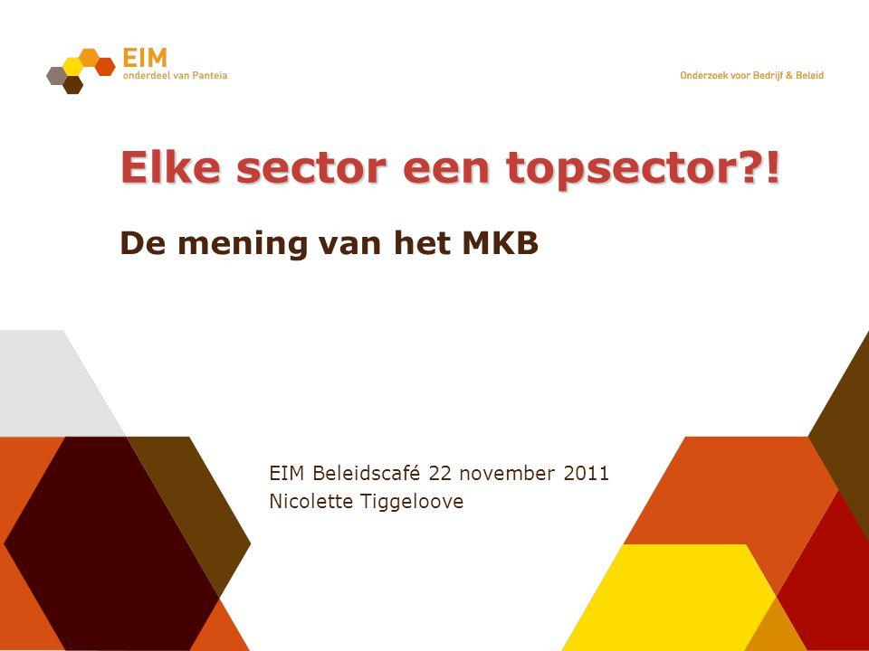 EIM Beleidscafé 22 november 2011 Nicolette Tiggeloove Elke sector een topsector .