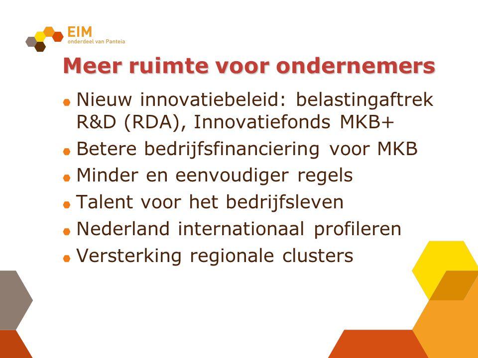 Meer ruimte voor ondernemers Nieuw innovatiebeleid: belastingaftrek R&D (RDA), Innovatiefonds MKB+ Betere bedrijfsfinanciering voor MKB Minder en eenvoudiger regels Talent voor het bedrijfsleven Nederland internationaal profileren Versterking regionale clusters