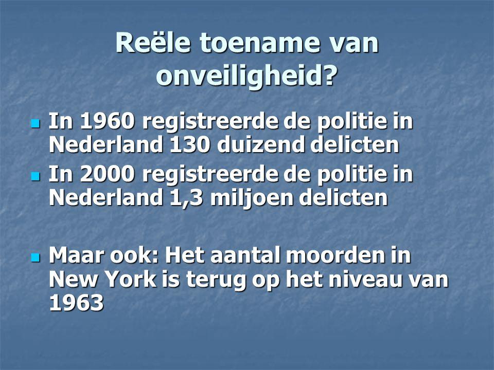 Reële toename van onveiligheid? In 1960 registreerde de politie in Nederland 130 duizend delicten In 1960 registreerde de politie in Nederland 130 dui
