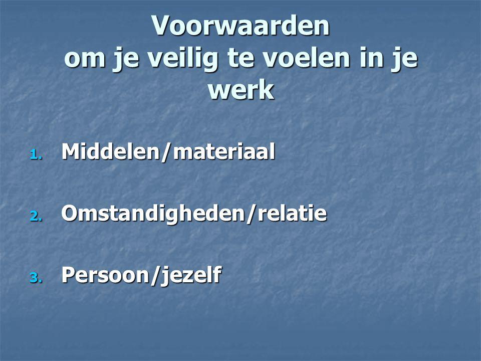 Voorwaarden om je veilig te voelen in je werk 1. Middelen/materiaal 2. Omstandigheden/relatie 3. Persoon/jezelf