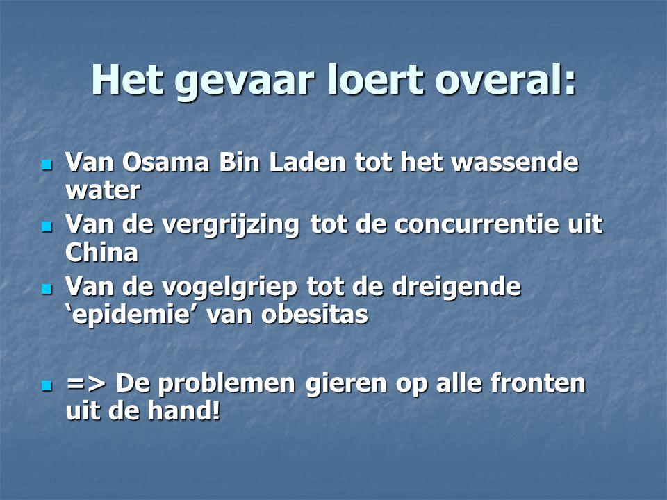 Het gevaar loert overal: Van Osama Bin Laden tot het wassende water Van Osama Bin Laden tot het wassende water Van de vergrijzing tot de concurrentie