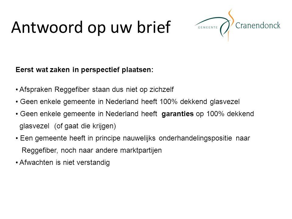 Antwoord op uw brief Eerst wat zaken in perspectief plaatsen: Afspraken Reggefiber staan dus niet op zichzelf Geen enkele gemeente in Nederland heeft