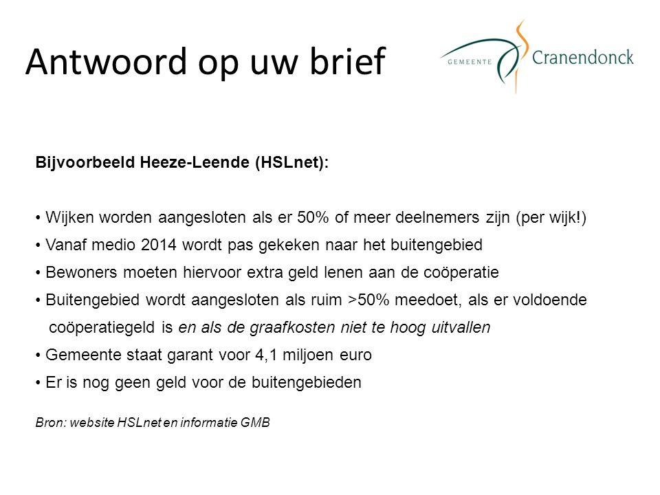 Antwoord op uw brief Bijvoorbeeld Heeze-Leende (HSLnet): Wijken worden aangesloten als er 50% of meer deelnemers zijn (per wijk!) Vanaf medio 2014 wor