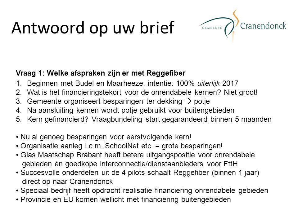 Antwoord op uw brief Vraag 1: Welke afspraken zijn er met Reggefiber 1.Beginnen met Budel en Maarheeze, intentie: 100% uiterlijk 2017 2.Wat is het financieringstekort voor de onrendabele kernen.
