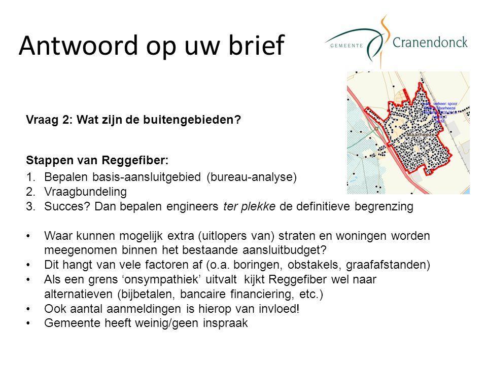 Antwoord op uw brief Vraag 2: Wat zijn de buitengebieden? Stappen van Reggefiber: 1.Bepalen basis-aansluitgebied (bureau-analyse) 2.Vraagbundeling 3.S