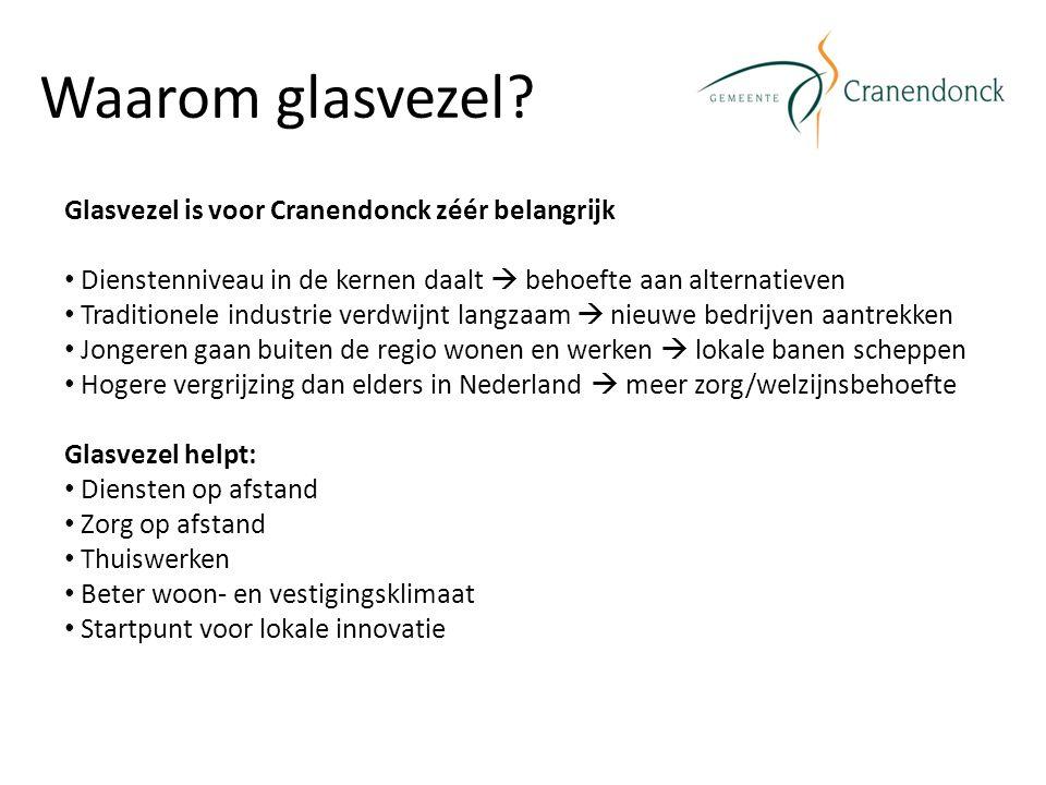 Waarom glasvezel? Glasvezel is voor Cranendonck zéér belangrijk Dienstenniveau in de kernen daalt  behoefte aan alternatieven Traditionele industrie
