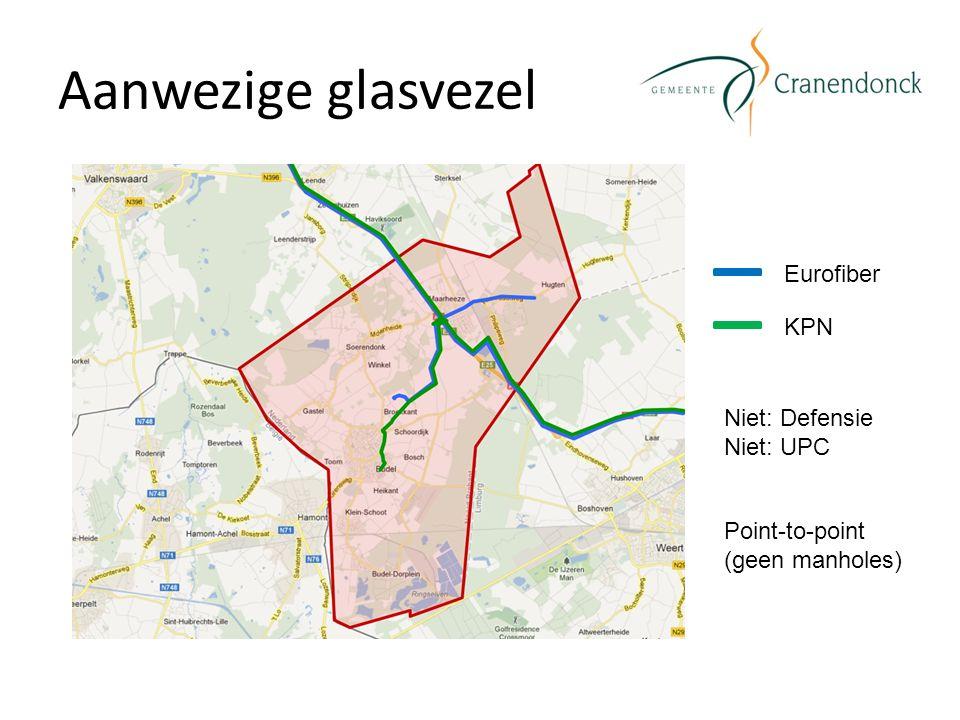 Aanwezige glasvezel Eurofiber KPN Niet: Defensie Niet: UPC Point-to-point (geen manholes)