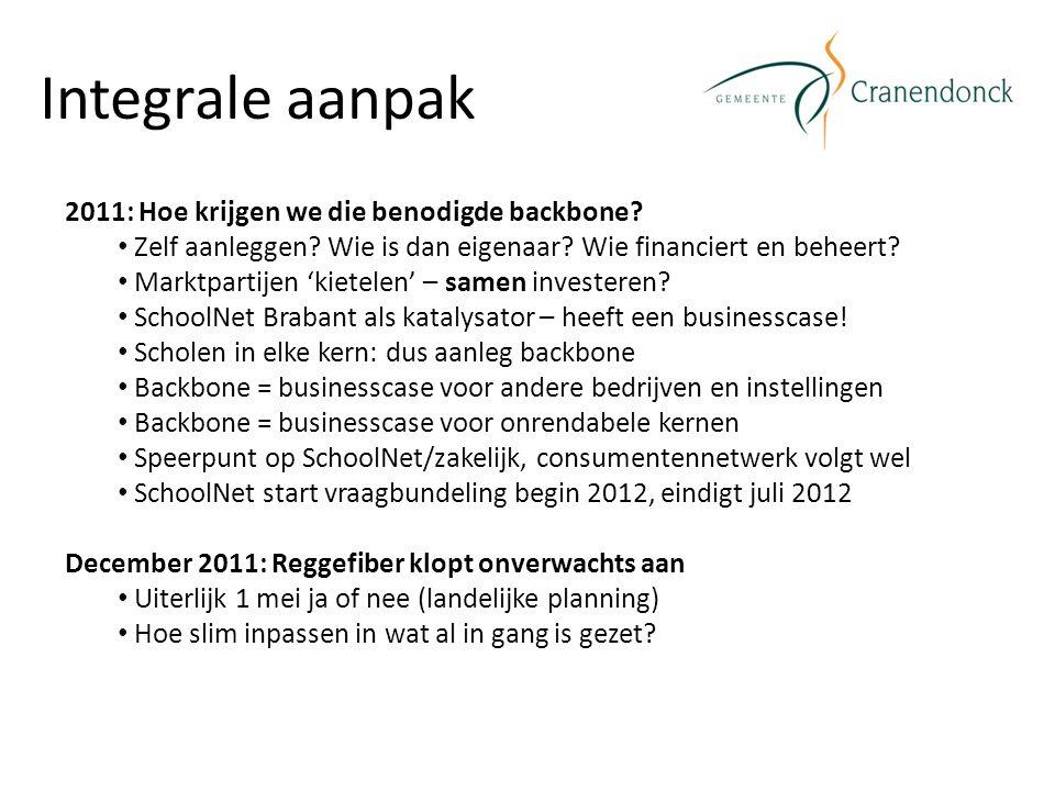 Integrale aanpak 2011: Hoe krijgen we die benodigde backbone? Zelf aanleggen? Wie is dan eigenaar? Wie financiert en beheert? Marktpartijen 'kietelen'