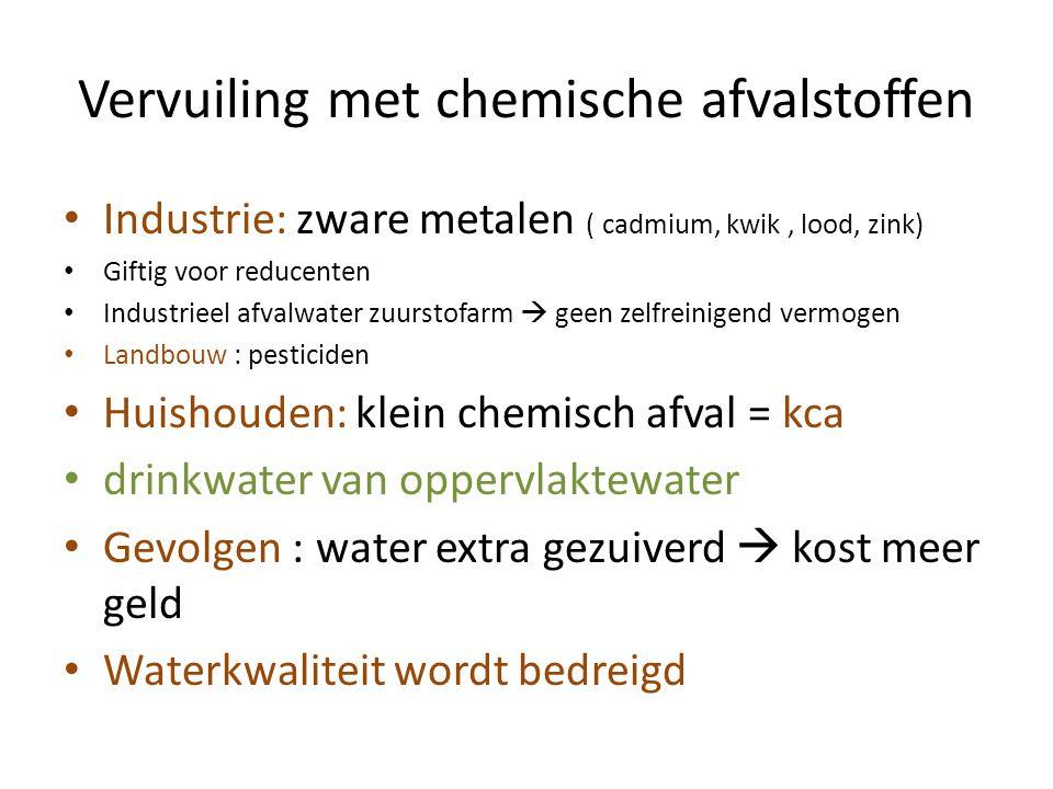 Vervuiling met chemische afvalstoffen Industrie: zware metalen ( cadmium, kwik, lood, zink) Giftig voor reducenten Industrieel afvalwater zuurstofarm