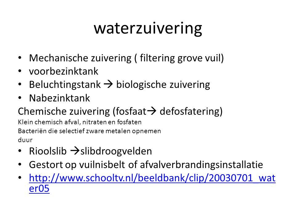 waterzuivering Mechanische zuivering ( filtering grove vuil) voorbezinktank Beluchtingstank  biologische zuivering Nabezinktank Chemische zuivering (fosfaat  defosfatering) Klein chemisch afval, nitraten en fosfaten Bacteriën die selectief zware metalen opnemen duur Rioolslib  slibdroogvelden Gestort op vuilnisbelt of afvalverbrandingsinstallatie http://www.schooltv.nl/beeldbank/clip/20030701_wat er05 http://www.schooltv.nl/beeldbank/clip/20030701_wat er05