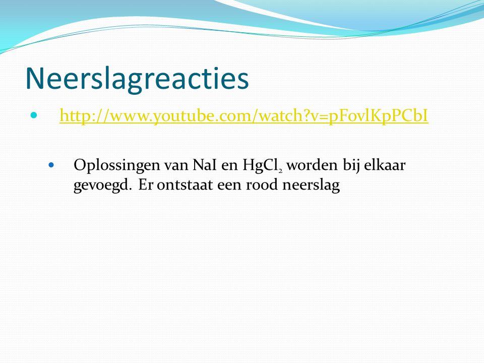 Neerslagreacties http://www.youtube.com/watch v=pFovlKpPCbI Oplossingen van NaI en HgCl 2 worden bij elkaar gevoegd.