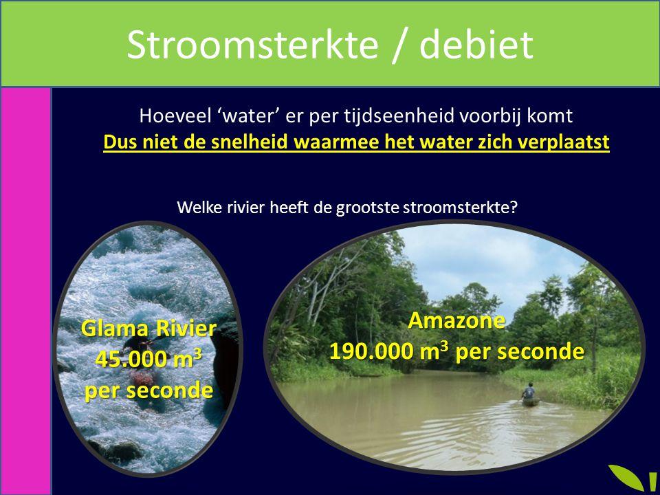 Wat is stoomsterkte? Hoeveel 'water' er per tijdseenheid voorbij komt Dus niet de snelheid waarmee het water zich verplaatst Welke rivier heeft de gro