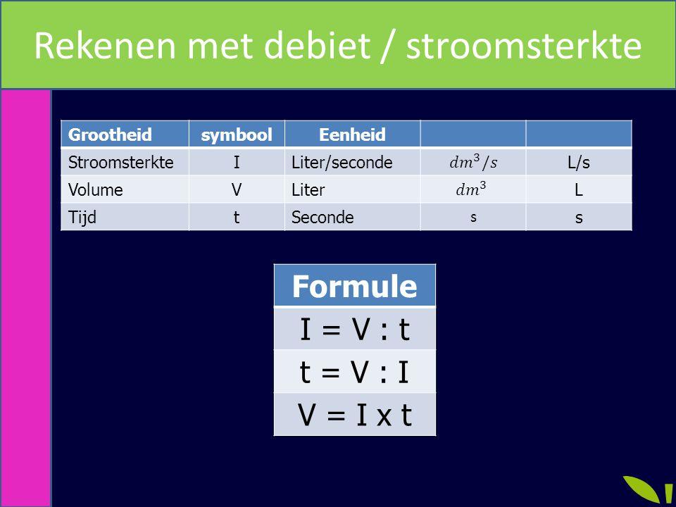 Rekenen met debiet / stroomsterkte GrootheidsymboolEenheid StroomsterkteILiter/secondeL/s VolumeVLiterL TijdtSeconde s s Formule I = V : t t = V : I V