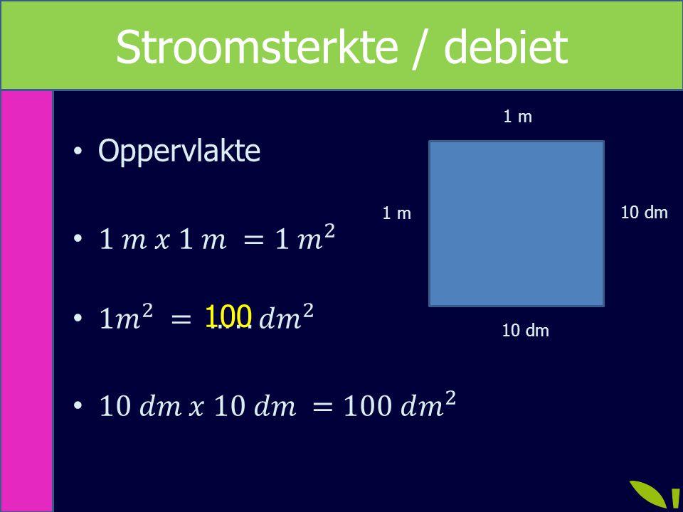 Rekenen met debiet / stroomsterkte GrootheidsymboolEenheid StroomsterkteILiter/secondeL/s VolumeVLiterL TijdtSeconde s s Formule I = V : t t = V : I V = I x t