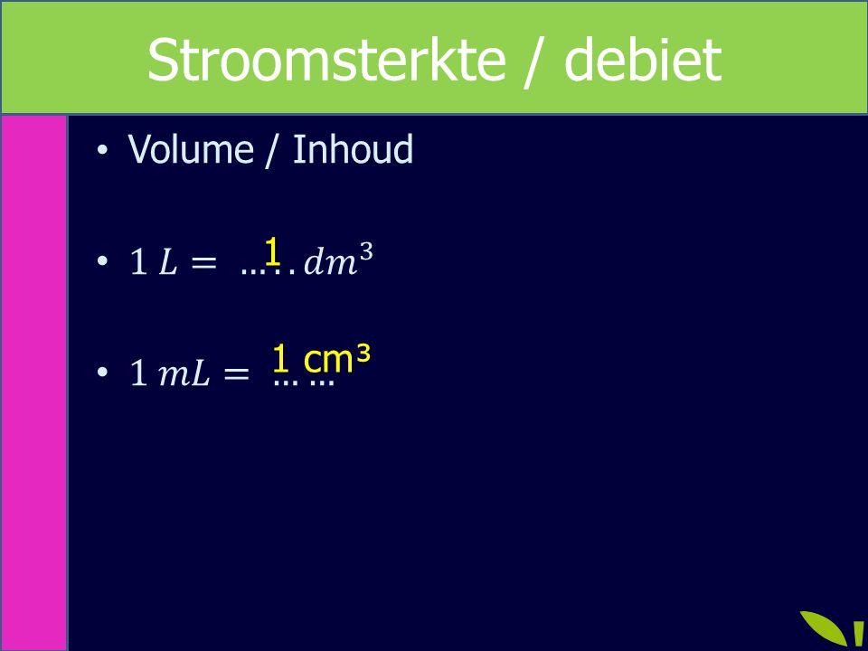 Omrekenen 1 dm³ = 1 L 1 cm³ = 1 mL 1 m = 10 dm V = l x b x h V = 1m x 1m x 1m = 1 m³ V = 10 dm x 10 dm x 10 dm = 1000 dm³ 1000 dm³ = 1 m³ :1000 x1000