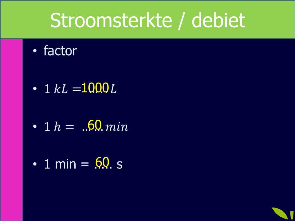 Stroomsterkte / debiet 1000 60