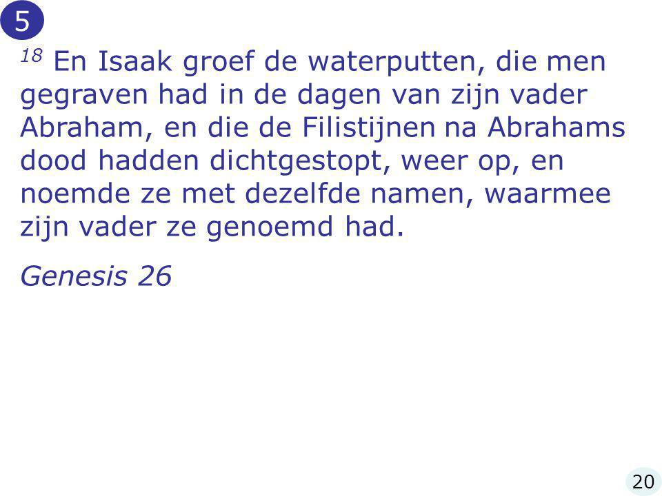 18 En Isaak groef de waterputten, die men gegraven had in de dagen van zijn vader Abraham, en die de Filistijnen na Abrahams dood hadden dichtgestopt,