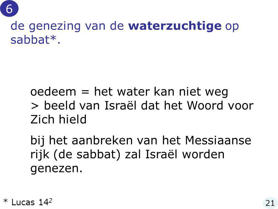 de genezing van de waterzuchtige op sabbat*. oedeem = het water kan niet weg > beeld van Israël dat het Woord voor Zich hield bij het aanbreken van he