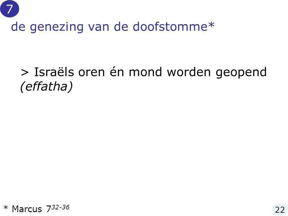 de genezing van de doofstomme* > Israëls oren én mond worden geopend (effatha) * Marcus 7 32-36 7 22