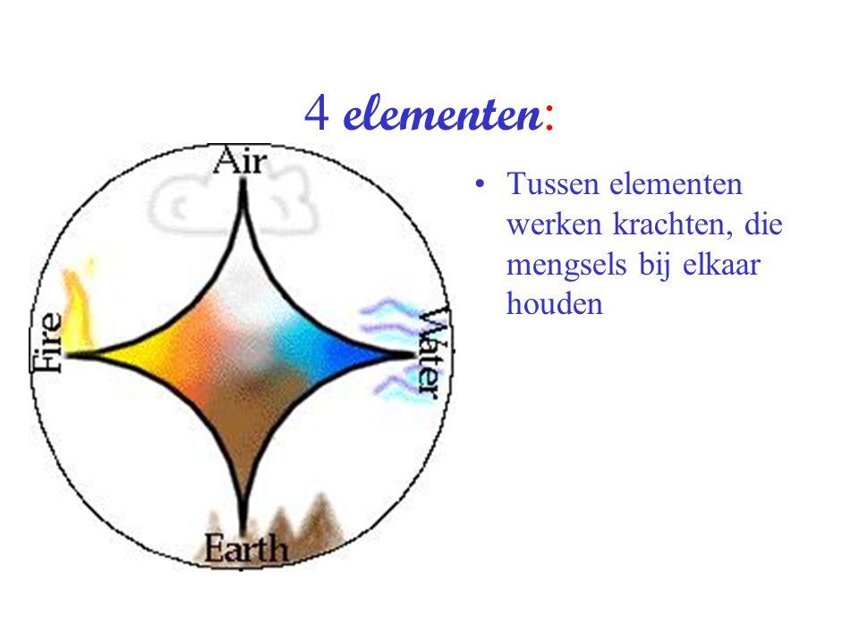 4 elementen : Tussen elementen werken krachten, die mengsels bij elkaar houden