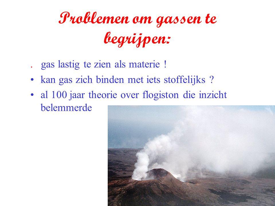 Problemen om gassen te begrijpen:. gas lastig te zien als materie ! kan gas zich binden met iets stoffelijks ? al 100 jaar theorie over flogiston die