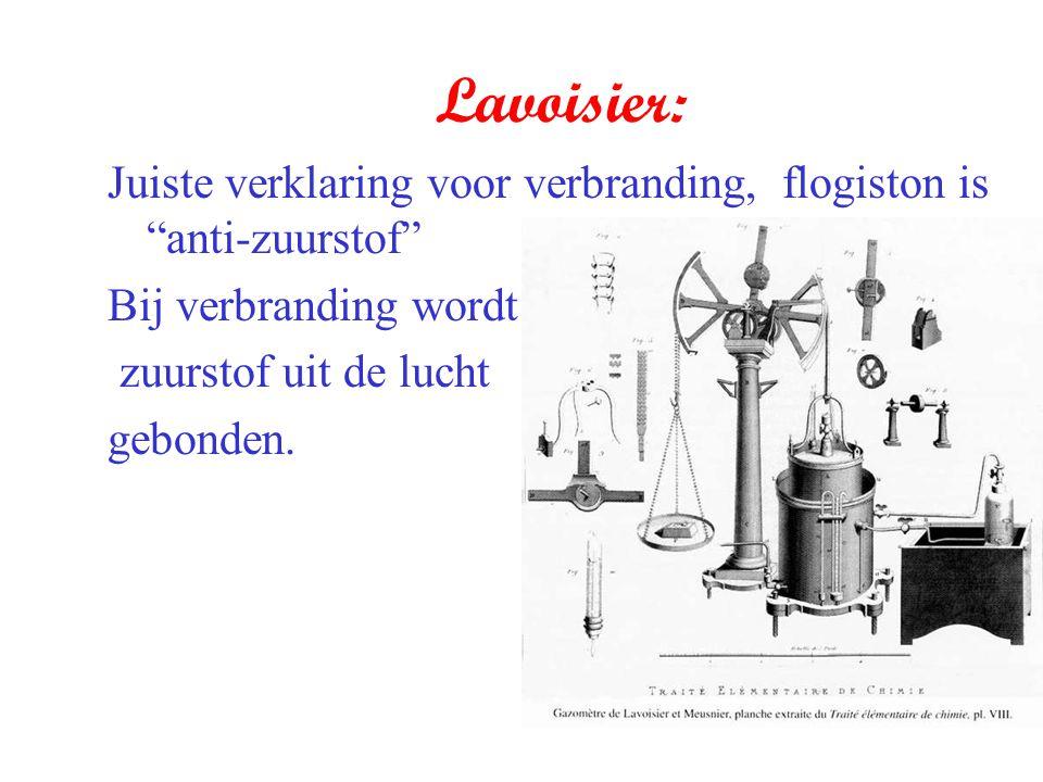 """Lavoisier: Juiste verklaring voor verbranding, flogiston is """"anti-zuurstof"""" Bij verbranding wordt zuurstof uit de lucht gebonden."""