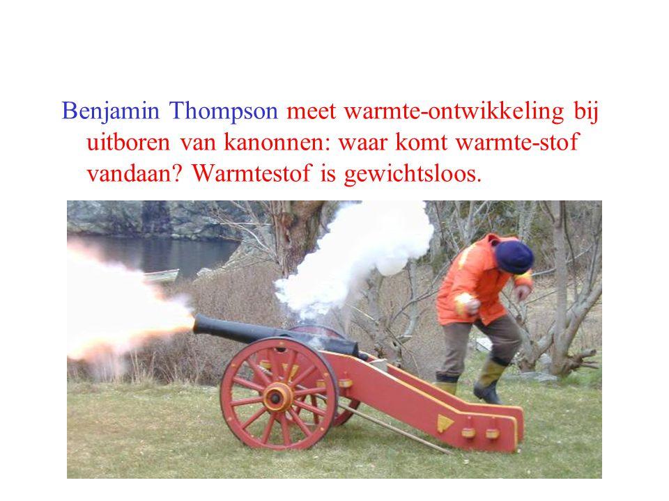 Benjamin Thompson meet warmte-ontwikkeling bij uitboren van kanonnen: waar komt warmte-stof vandaan? Warmtestof is gewichtsloos.