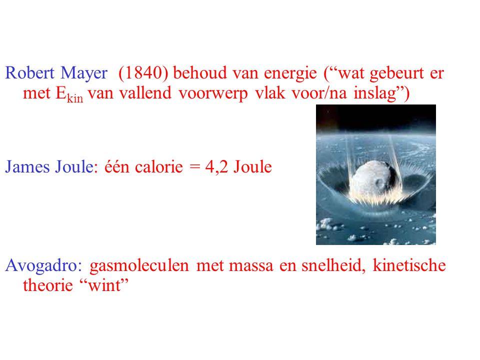 """Robert Mayer (1840) behoud van energie (""""wat gebeurt er met E kin van vallend voorwerp vlak voor/na inslag"""") James Joule: één calorie = 4,2 Joule Avog"""