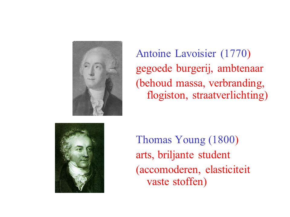 Antoine Lavoisier (1770) gegoede burgerij, ambtenaar (behoud massa, verbranding, flogiston, straatverlichting) Thomas Young (1800) arts, briljante stu